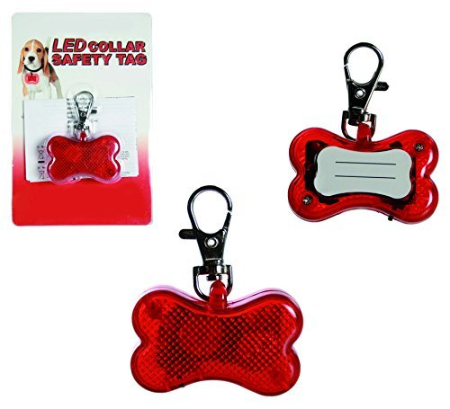 Light Them Up - Bright LED Cute Bone Shape RED Dog Collar Safety Tag - Christmas, Stocking Filler For Your Pet - One Supplied by Kenzies Gifts Tag Bone Shape Led