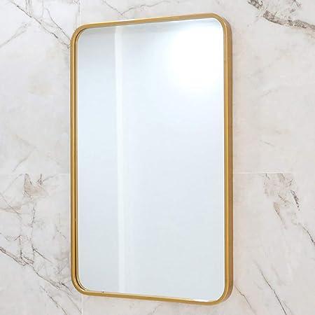 Espejo de Pared Rectangular de Oro, Espejo de baño Retro ...