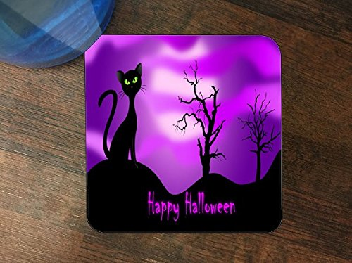 Say Happy Halloween Fun Cat Picture Silicone Drink Beverage Coaster 4 Pack (Halloween Drinks Photos)