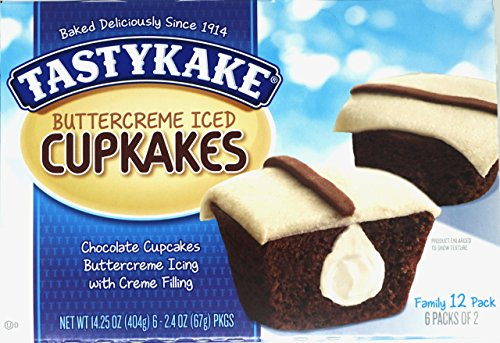 Tastykake Creme Filled Chocolate Cupcakes With Buttercream Icing Family Pack/12 Buttercream Iced Chocolate Cupcakes Per Box (6-Boxes) -