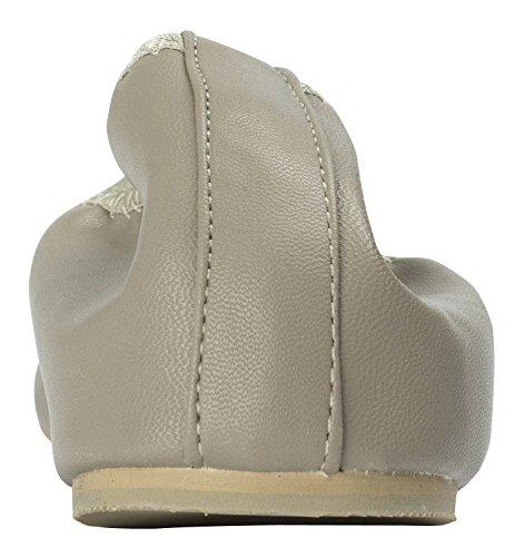 Annakastle Womens Vegan Läder Fyrkantiga Tå Balett Lägenheter Halka På Skor Taupe Grå