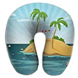 SARA NELL Memory Foam Neck Pillow Hawaii Summer Vacation U-Shape Travel Pillow Ergonomic Contoured Design Washable Cover For Airplane Train Car Bus Office