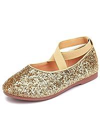 UBELLA Girl's Glitter Ballerina Ballet Flat Princess Dance Shoes Wedding Party Dress Shoes