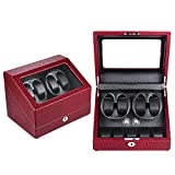 KAIHE-BOX Luxury PU Single 4+5 Watch Winder (5 color ) Display Box Case [100% Handmade] , Red