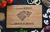 Game of Throne Cutting Board Stark family Dinner is coming Winter Custom Engraved Wooden Men Christmas Gift for Friend Him Her House Warming (9.8 x 13.8)game10