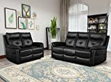 Leisure Zone Cambridge Luxury Sofa Recliner PU Black Leather Sofa Suite Lounge Couch Set Armchair Different Configurations Available for Home Lounge Living Room (3+2 Seater)