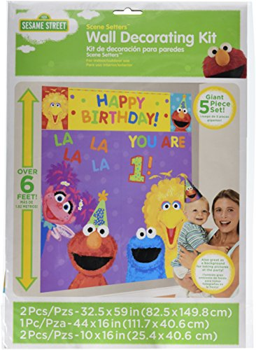 Amscan Sesame Street 1St Birthday Party Scene Setter Wall Decorating Kit, Multicolor, 59