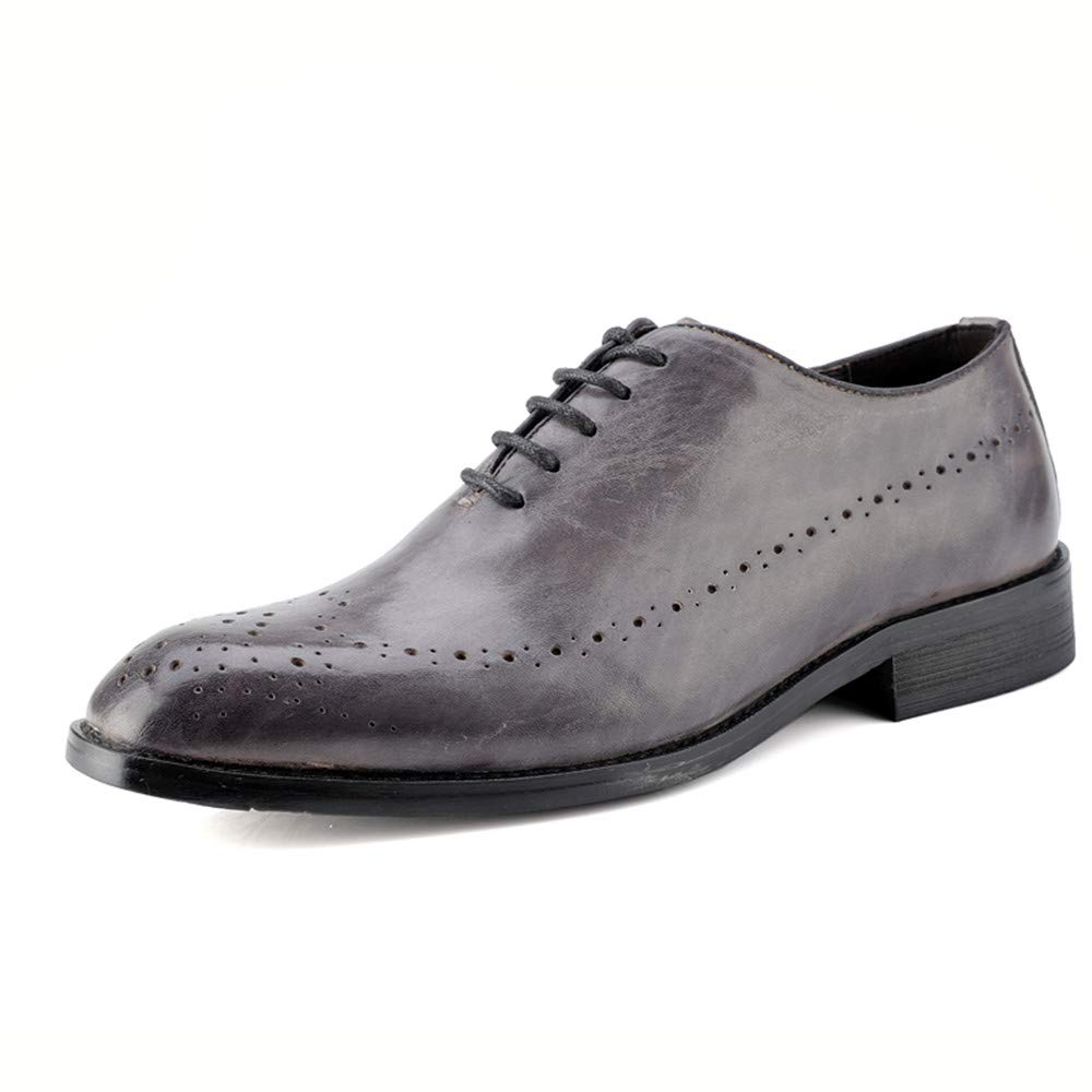 Zapatos Oxford de negocios para hombres, zapatos de cuero de estilo británico con detalle de correa de talla original de cuero genuino ,Zapatos Oxford Hombre ( Color : Gris , tamaño : 43 EU )