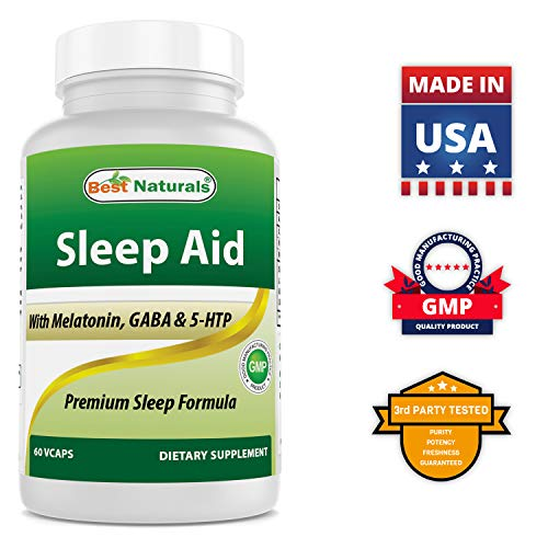 Best Naturals Sleep Aid with Melatonin GABA 5-HTP - 60 Veggie Capsules