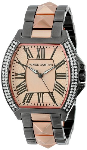 Vince Camuto Women's VC/5123RGTT Swarovski Crystal Accented Gunmetal and Rose Gold-Tone Pyramid Bracelet Watch