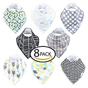 Mogozon Baby Bandana Drool Bibs – Set of 8 Absorbent & Adorable Cotton Bibs w/Flannel Lining & Adjustable Snaps – Super Soft & Comfortable Apron For Drooling, Teething, Feeding – For 0-36 Months