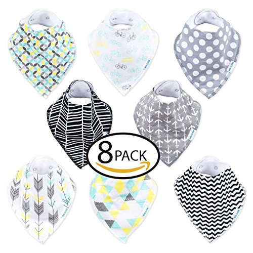 Mogozon Baby Bandana Drool Bibs – Set of 8 Absorbent & Adorable Cotton Bibs w/Flannel Lining & Adjustable Snaps – Super Soft & Comfortable Apron for Drooling, Teething, Feeding – for 0-36 Months ()