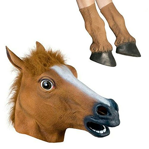 Costums For Halloween (The Beauty-Way Sunxue Halloween Horse Mask (Head and Hooves), Brown)