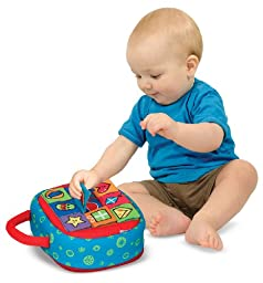 Melissa & Doug K\'s Kids Take-Along Shape Sorter Baby Toy With 2-Sided Activity Bag and 9 Textured Shape Blocks