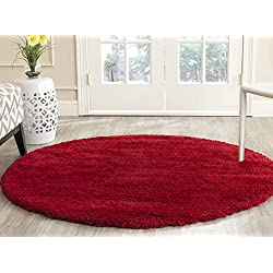 Safavieh Milan Shag Collection SG180-4040 Red Round Area Rug (3' Diameter)