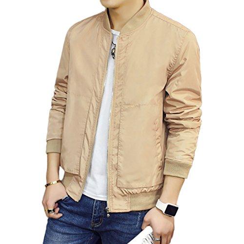 BINGKA Mens Bomber Jacket Softshell Sportswear Lightweight Slim Jacket Coat, Khaki, US Size M (Asian Size XXL)