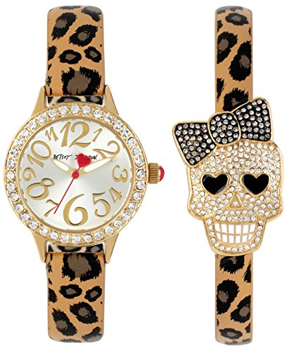Betsey Johnson Women's Leopard Strap Watch & Pave Skull Bracelet Set (Betsey Johnson Watch Bracelet)