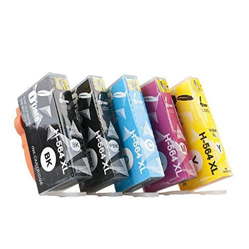 Price comparison product image iTinte Compatible HP 564XL ink cartridges 5 Pack (1 Black, 1 Photo Black,  1 Cyan,  1 Magenta,  1 Yellow) for HP Photosmart 5520 6520 7520 5510 6510 7510 7525 B8550 C6380 D7560 Officejet 4620 Deskjet 3520