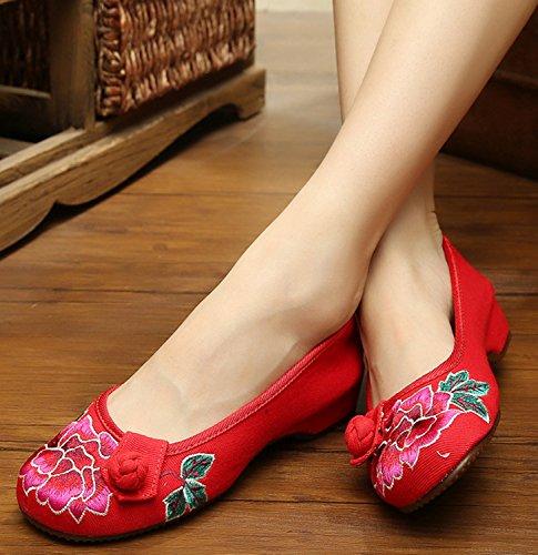 Icegrey Zapatos Planos De Las Bailarinas Del Bordado Hecho A Mano Para Las Mujeres Rojo