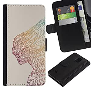 KingStore / Leather Etui en cuir / Samsung Galaxy S5 Mini, SM-G800 / Mujer del extracto del trullo Arte amarillo;