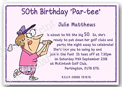 10 Personalised golf Birthday Party Invitations 18th, 21st, 30th 40th 50th 60th 65th 70th 80th 90th 100th female funny with envelopes J350: Amazon.co. uk: ...