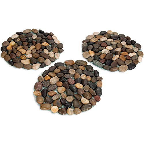 Bits and Pieces - Round Riverstone Stepping Stones Set - Decorative Stones for Your Garden -