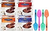 Ghirardelli Premium Microwave Brownie Mug Mix Bundle - Chocolate Peanut Butter, Dark Chocolate, Double Chocolate, Salted Caramel, 4 Servings Per Box - with Set of 4 By The Cup Colorful Spoons