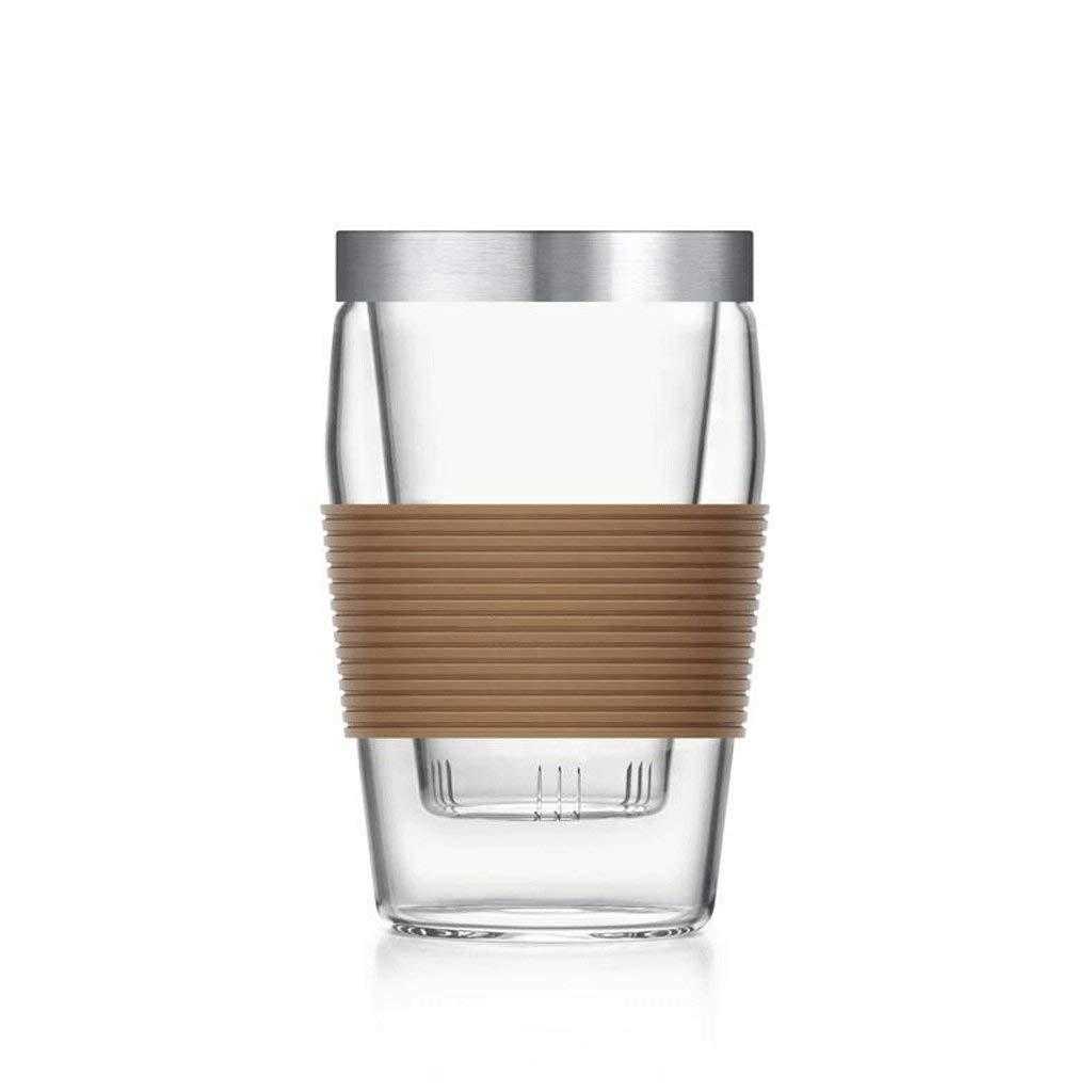 Kitchen Tea Set Porcelain Drinkware Set Saucers Heat Resistant Glass Liner Strainer Flowers Cups Insulation with Cover Transparent Glass Office Mug 500ML (Color : Brown)