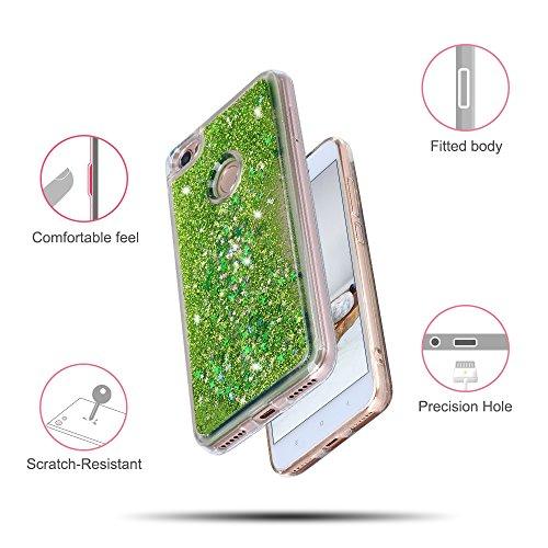 Funda Xiaomi Redmi Note 5A, Caselover 3D Bling Silicona TPU Arena Movediza Carcasa para Redmi Note 5A / Redmi Note 5A Prime Glitter Líquido Brillar Lentejuelas Suave Transparente Cristal Protección Ca Verde