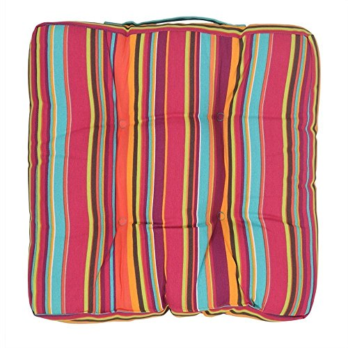 Indoor Chair Cushion Pad Car Seat Pad Stool Cushion with Striped Cotton Cover and Polyester Filling 15 x 15 Inches