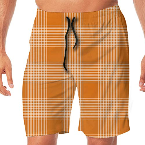 (Quick Dry Men's Beach Shorts Orange Plaid Print Swim Trunks Surf Board Pants Pockets XXL)