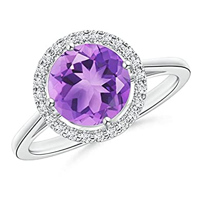 Angara Round Amethyst and Diamond Halo Engagement Ring in 14k Rose Gold AXeFn7Zq