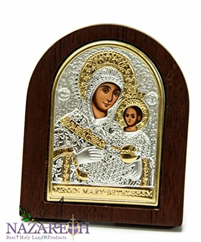 Catholic Miraculous Virgin Mary Jesus Sterling Silver Icon With Wood Frame 3.3'' Jerusalem by Holy Land Gifts