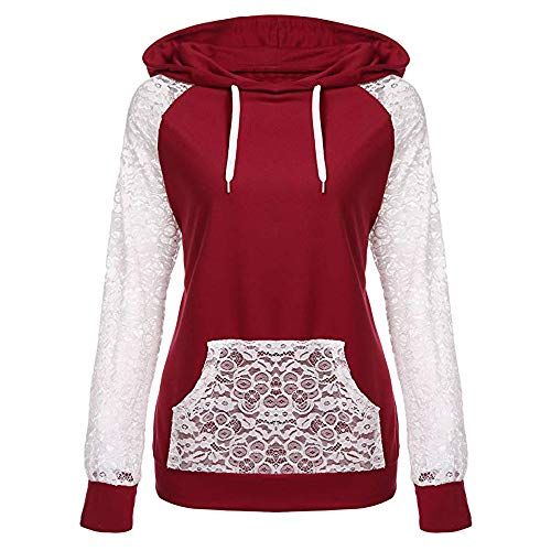 BaZhaHei Womens Lace Patchwork Hooded Sweatshirt Pullover Tops O-Neck Hoodie Coat Fashion Outerwear Sexy Tops