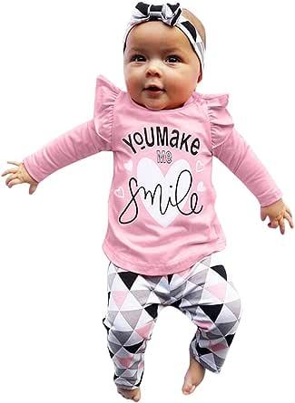 LANSKIRT Ropa para Recién Nacido Infantil bebé niñas Conjunto de Ropa de Trajes De Manga Larga Volantes Letras Impresas Tops + Pantalones + Banda de ...