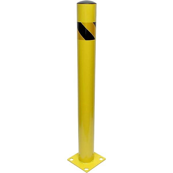 8NET Steel Yellow Safety Barrier Bollard 24Hx4.5D,12Ga,Base-8x8,with 4 Free Ancher Bolts