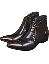 US Size 5-12 Pointed Toe Brown Leather Mens Dress Formal Zip Ankle Boots Shoes