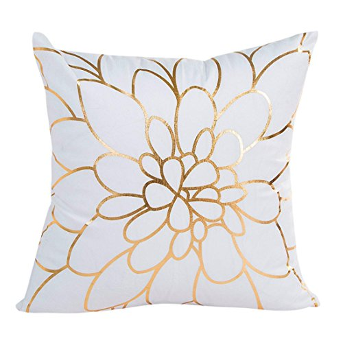 Bokeley Pillow Case, Cotton Linen Square Gold Foil Printing Decorative Throw Pillow Case Bed Home Decor Cushion Cover (A)