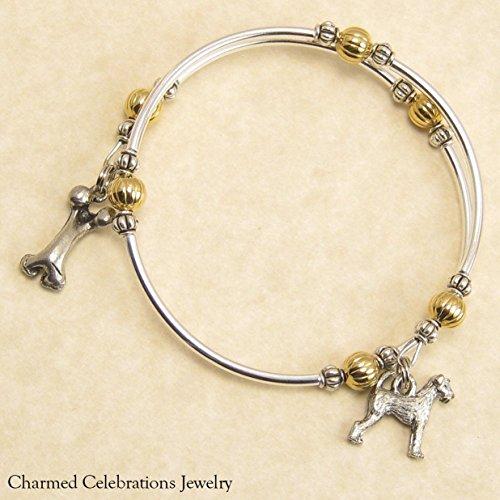 Airedale Terrier Dog Breed Wrap Bracelet Handmade Charm Bracelet Jewelry Gift Keepsake. Gold, Silver or Black Bead Options