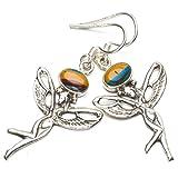 "StarGems(tm) Natural Mosaic Jasper Boho 925 Sterling Silver Drop Earrings 1 3/4"""