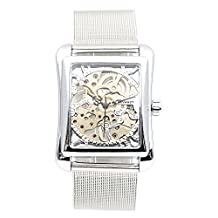 Retro Mens Hand Wind Mechanical Watch Women Wristwatches Skeleton Rectangle Watches Stainless Steel Band