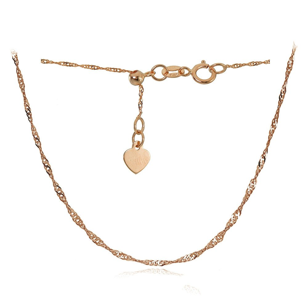 Bria Lou 14k Rose Gold .9mm Italian Singapore Adjustable Chain Anklet, 9-11 Inches