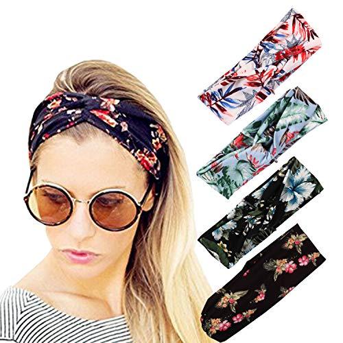 (DRESHOW 4 Pack Turban Headbands for Women Hair Vintage Flower Printed Cross Elastic Head Wrap)