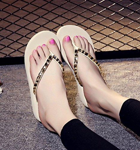 YOUJIA Mujeres Cómodo Verano Playa Bohemia Plataforma Cuñas Chanclas Zapatillas #7 Beige