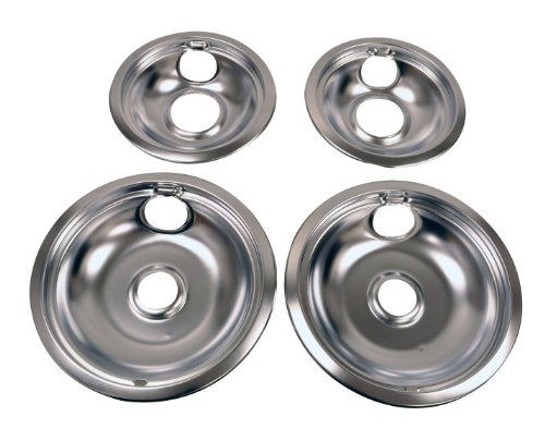 Whirlpool W10278125 Drip Pan Kit, Chrome - Chrome Burner Bowls