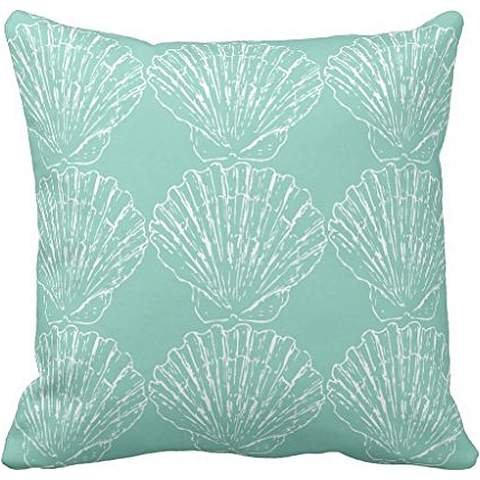 Stylish-Nautical-Seashells-On-Seafoam-Blue-Green-Throw-pillow-case-1616