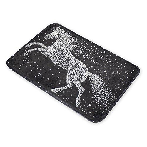 Pegasus Sky Black Abstract Horse Non-slip Floor Mats For ...