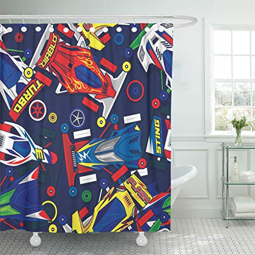 Semtomn Shower Curtain Waterproof Polyester Fabric 72 x 72 inches Race Pop and Colorful Classic Mini 4Wd Toys Car Auto Set with Hooks Decorative Bathroom Curtains