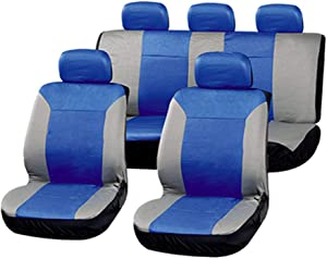 AUTOMUTO Blue/Gray Full Set Seat Covers w/Steering Wheel Cover Front Rear Coverage Protection for Cars