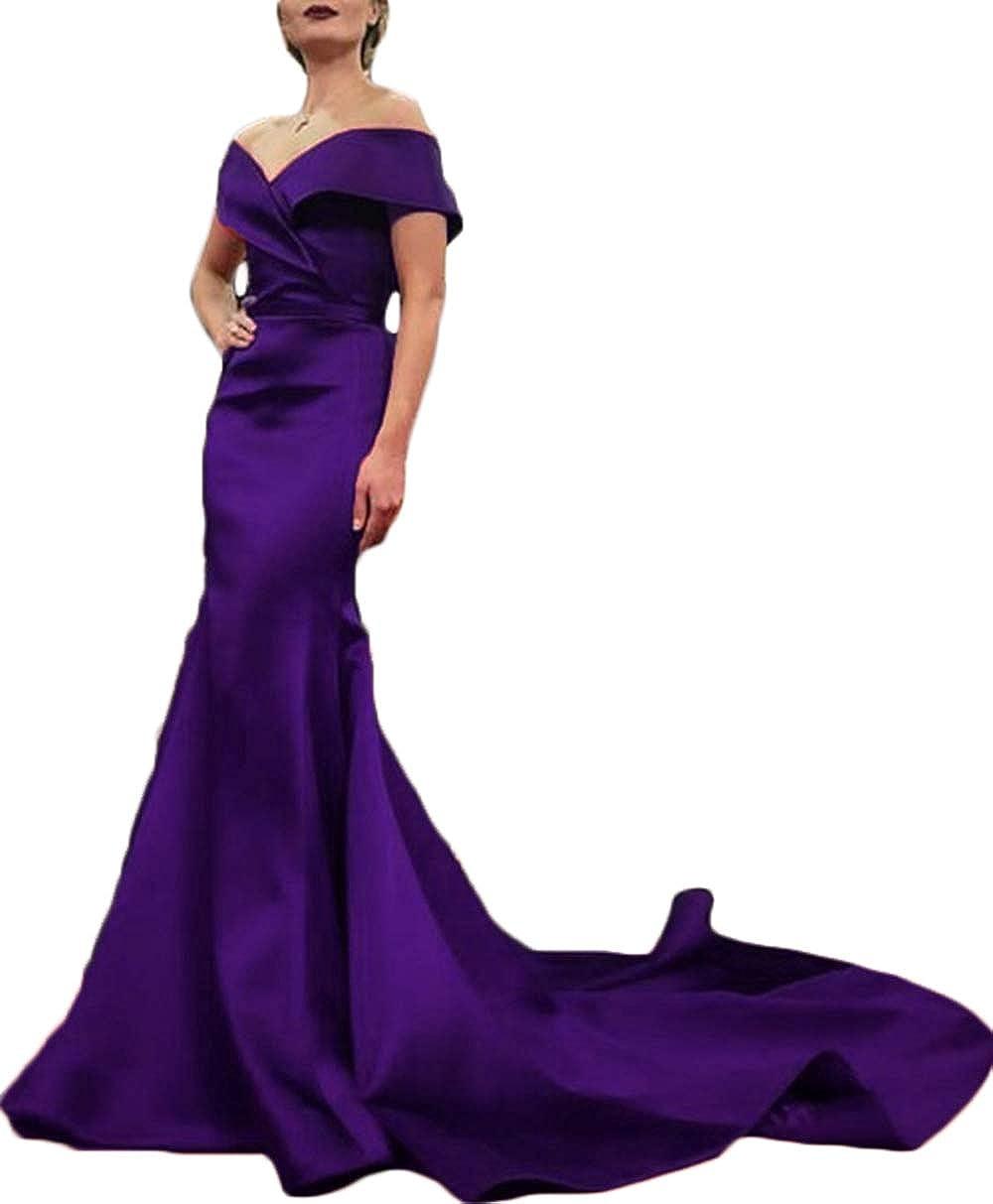 Dark Purple Rmaytiked Womens Off The Shoulder Mermaid Prom Dresses Long 2019 Elegant Satin Formal Evening Ball Gowns